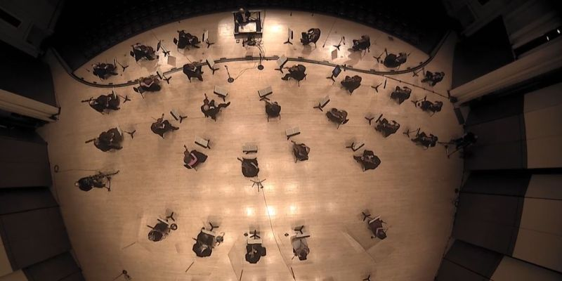 Spaced out: The ASO as seen from above in the streamed video -- most of the stage, at least. (video capture)
