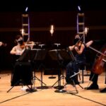 Peachtree String Quartet performs in masks at UGA's Hugh Hodgson Hall. (credit: James Dunn)