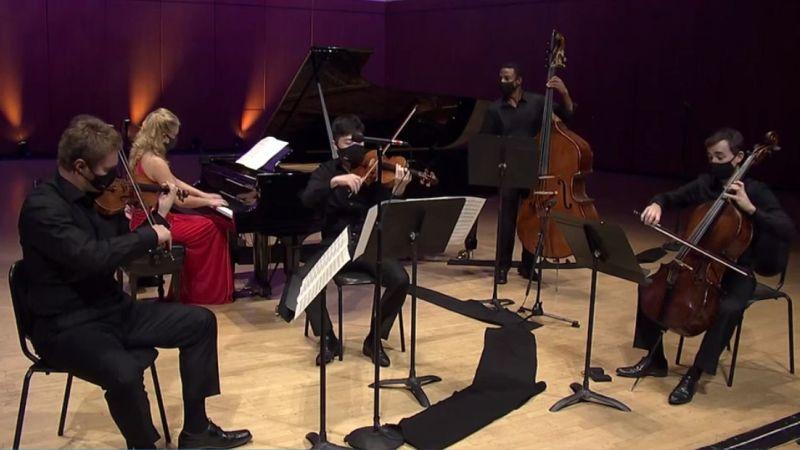 "Schubert's ""Trout Quintet"" (l-r): David Coucheron, Julie Coucheron, Zhenwei Shi, Xavier Foley, Rainer Eudeikis (ASO video frame capture)"