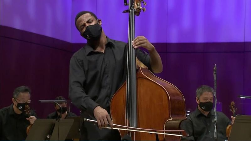 "Xavier Foley is soloist for Bottesini's ""Double Bass Concerto No. 2 in B minor"" (source: ASO video fame capture)"