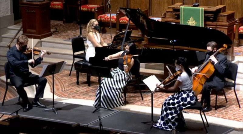 """Grand finale, with an Ameriocan twist: the last movement of Peter Schikele's """"Piano Quintet No. 2"""" (video frame capture)"""