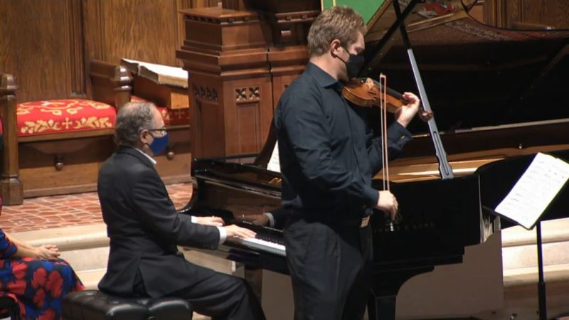 Pianist Will Ransom and violinist David Coucheron (video frame capture /FPCA)