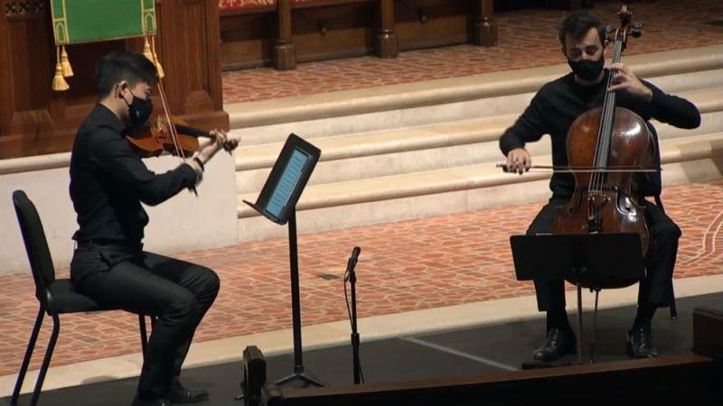 Zhenwei Shi, viola and Rainer Eudekis, violoncello (video frame capture / FPCA)