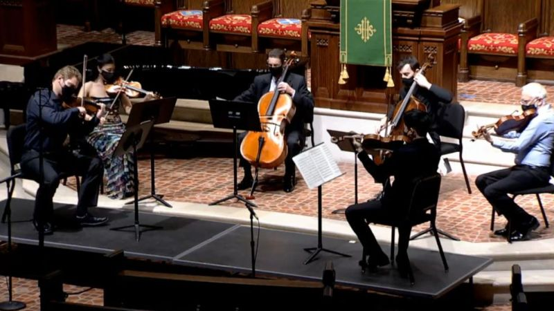 clockwise from left: David Coucheron and Helen Kim, violins; Christopher Rex and Rainer Eudekis, violincellos; and Paul Murphy and Zhenwei Shi, violas. (video frame capture / FPCA)