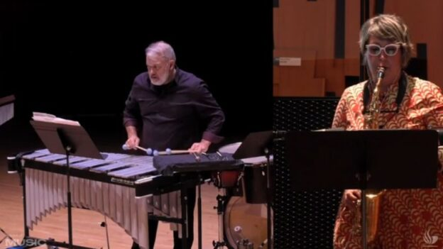 "In a split screen view, percussionist Stuart Gerber and saxophonist Jan berry Baker perform the world premiere of ""Composite and Parallax"" by Peter Van Zandt Lane. (source: video frame capture / GSU)"