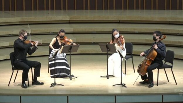 Emory University's quartet-in-residence, the Vega Quartet, concluded their complete cycle of Beethoven's string quartets on Sunday. (source: video frame capture)