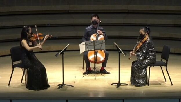 Vega String quartet members Jessica Shuang Wu, violin; Guang Wang, cello, and Yinzi Kong, viola. (source: screen capyure / Emory U.)