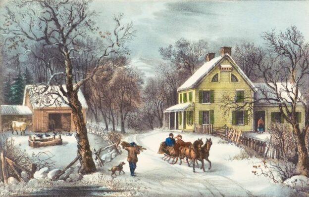 American Homestead Winter. Published by Currier & Ives, 1868