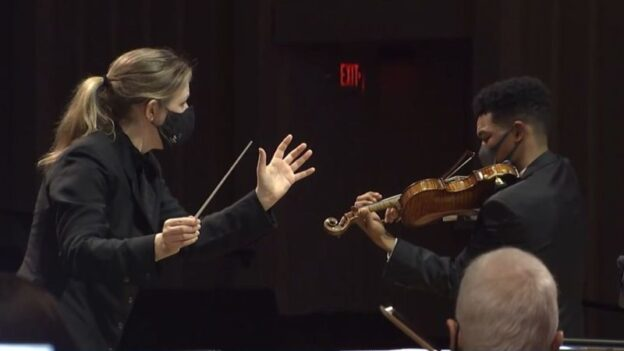 guest conductor Gemma New and violin soloist Randall Goosby.