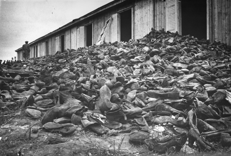 Holocaust victims' shoes piled outside a warehouse in Ma Majdanek, Poland, August 1944. (source: Holocaust Encyclopedia)