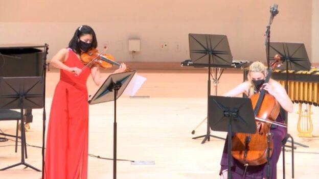 Violinist Helen Hwaya Kim nd cellist Charae Krueger. (video captre / KSU)