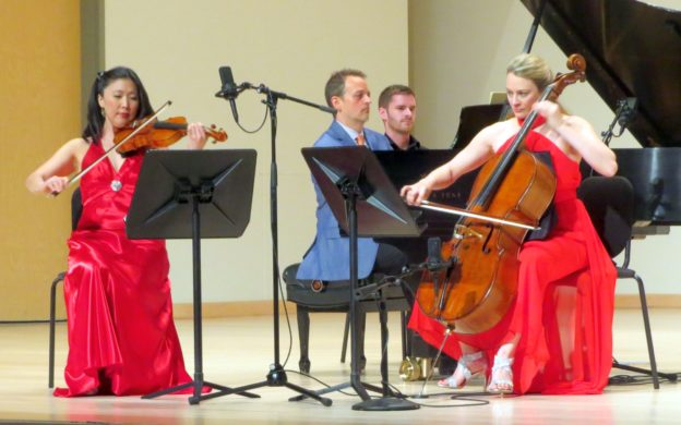 The Summit Trio (l-r): violinist Helen Hwaya Kim, pianist Robert Henry and cellist Charae Krueger.