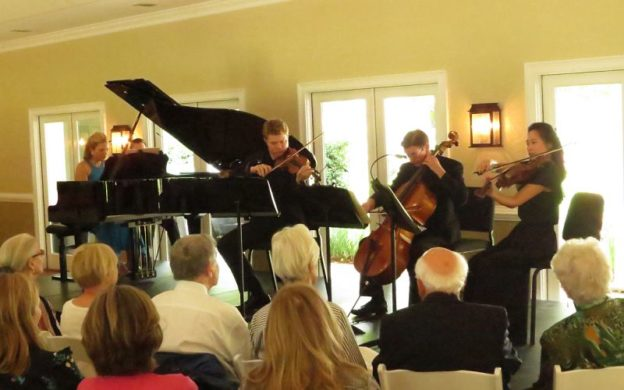 Christiania Quartet: pianist Julie Coucheron, violinist David Coucheron, cellist Christopher Rec=x and violist Julianne lee perform at Burge Plantation. (credit: Mark Gresham)