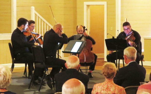 "Amermet Quartet plus Christopher Rex perform a string quintet transcription of Beethoven's ""Kreutzer"" Sonata to close the 2019 Madison Chamber Music Festival. (credit: Mark Gresham)"