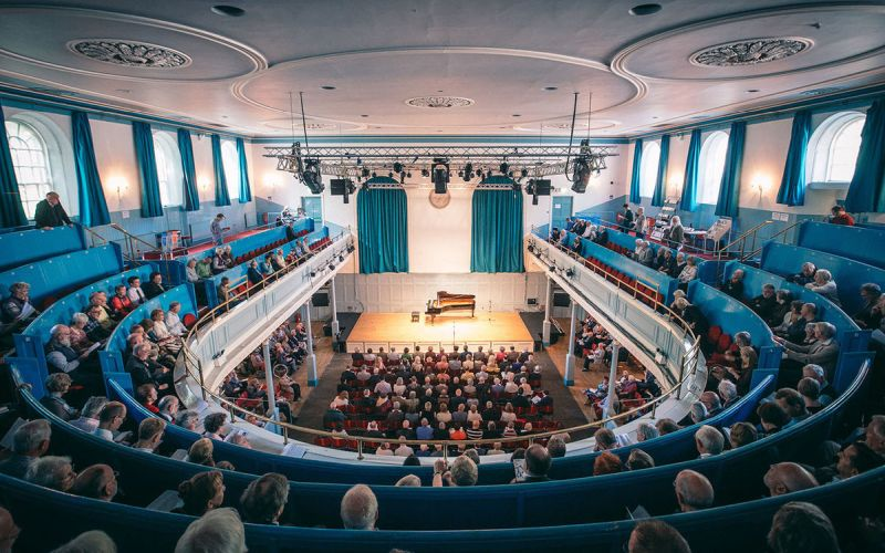 The Queen's Hall, interior view from the balcony. (credit: Clark James)