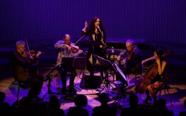 Mahsa Vahdat (center) in a performance with Kronos Quartet. (credit: Evan Neff)