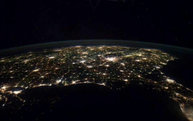 Photograph of the Southeastern US at night, January 29, 2012, taken by the Expedition 30 crew of the International Space Station. Atlanta is the very bight area just right of center. (courtesy of NASA)
