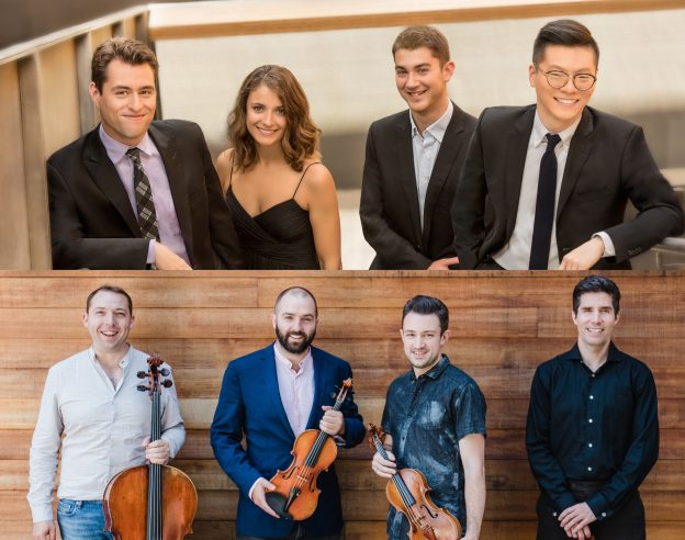 Top: Dover String Quartet; bottom: Escher String Quartet. (composite image courtesy of Spivey Hall)