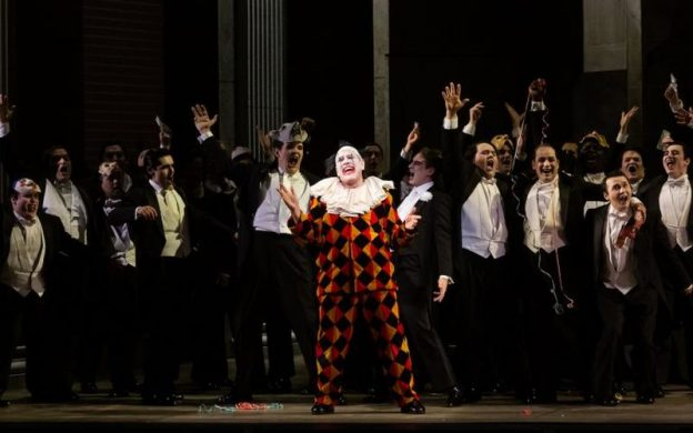 "A scene from Houston Grand Opera's ""Rigoletto,"" directoed by Tomer Zvulun. Texas Classical Review says, ""Michael Mayes was devastating in the title role of Verdi's ""Rigoletto"" (photo credit:: Lynn Lane)"