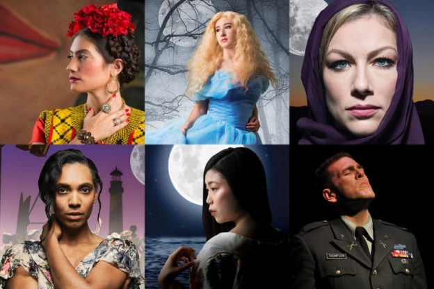 Promotional images for the Atlanta Opera's 2019-20 season: top, l-r: Frida, La Cenerentola, Salome; bottom: Porgy and Bess, Madame Butterfly, Glory denied. (source: The Atlanta Opera)