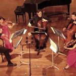 Clockwise from left: violinists David Couceron and Helen Kim, cellists Ranier Eudeikis and Christopher Rex, and violist Julianne Lee. (credit: Mark Gresham)