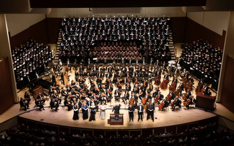 Not quite a thousand, but at total of 464 musicians performed together on Thursday in Gustav Mahler's Symphony No. 8. (credit: Jeff Rofman)