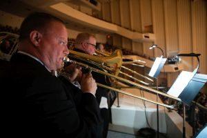 Trombones in the balcony. (credit: Jeff Roffman)