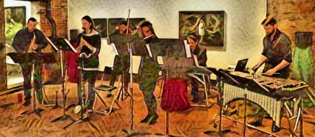 Terminus Ensemble at Whitespace Gallery on Sunday. (digitally transformed photo. credit: Mark Gresham)