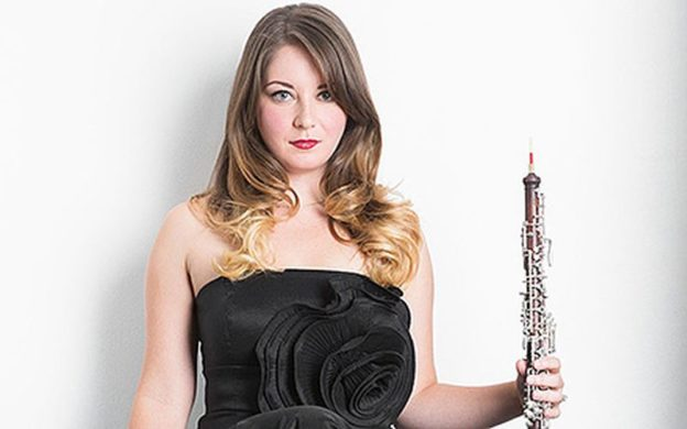 "Principal oboist Elizabeth Koch Tiscione solos with the Atlanta Symphony Orchestra this week in Ralph Vaughn Williams' ""Oboe Concerto."" (source: ASO)"