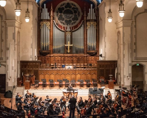 "Poulenc's ""Concerto for Organ, Strings and Timpani"" was performed last Thursday at First Presbyterian Church of Atlanta by organist Jens Korndörfer. withe the GSU Orchstra conducted by Michael Palmer, as part of a collaborative concert that also included music by Sibelius and Mendelssohn. (credit: Julia Dokter)"