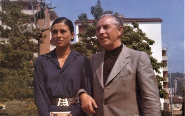 Rudolf Firkušný with his wife, Tatiana, at the entrance of Radio Switzerland in Lugano, 12 August 1974. (credit: Giorgio Koukl)