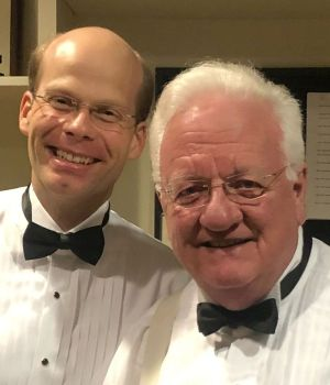 Organist Jens Korndörfer (left) with conductor Michael Palmer in a backstage moment. (credit: Michael Yip)