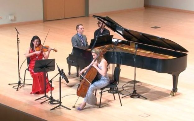 Summit Trio: Helen Hwaya Kim, violin, Robert Henry, piano, and Charae Krueger, cello, in Wednesday's performance. (source: video capture, KSU live streaming)