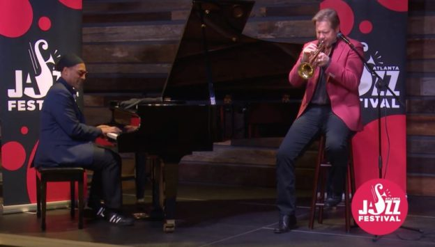 Kenny Banks, Sr.,, piano,. and Joe Gransden, trumpet, in Sunday's virtual session. (video still courtesy of Atlanta Jazz festival)