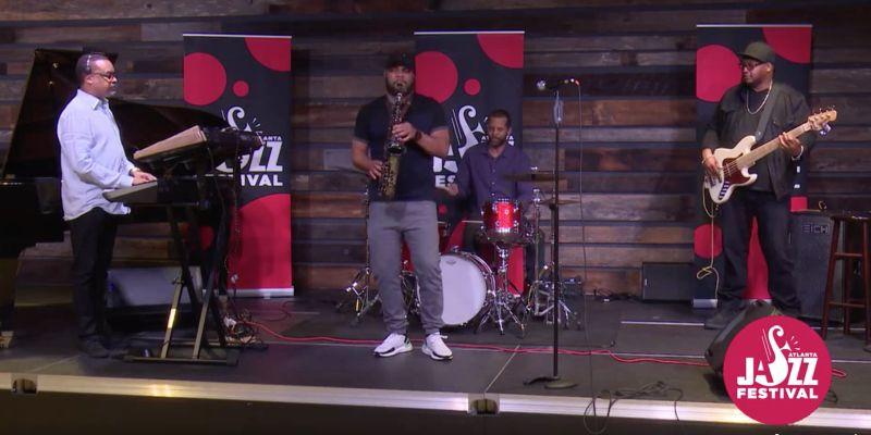 Saxophonist Mike leads his quartet. (video still courtesy of Atlanta Jazz Festival)