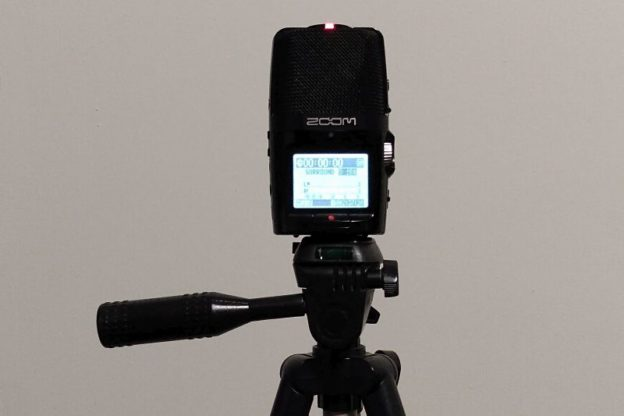 Digital DIY: A Zoom H2n portable audio recorder atop a Targus tripod. (photo: Mark Gresham)