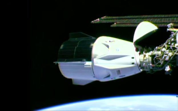 Positive space: Dragon docks with the International Space Station, June 1, 2020. (source: NASA)