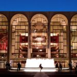 The Metropolitan Opera House at night.