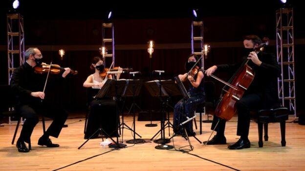 Peachtree String Quartet performs in masks at UGA's Hugh Hodgson Hall. (credit: James Dunn)