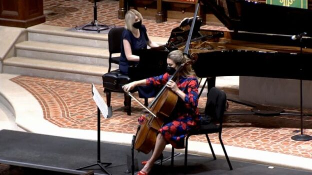 Pianist Elizabeth Pridgen and cellist Charae Krueger. (video frame capture / FPCA)