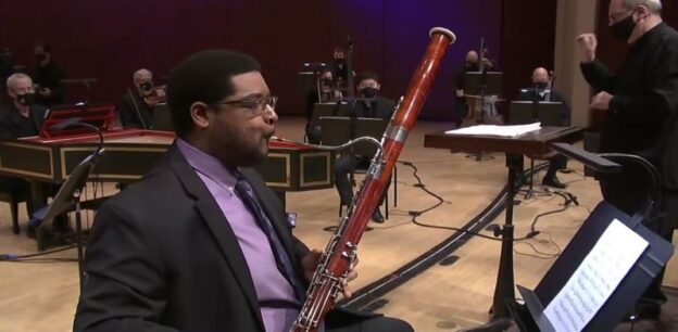 "ASO principal bassoon Andrew Brady solos in the ""Bassoon Concerto in A minor"" by Johann Wilhelm Hertel. (video frame capture / ASO)"