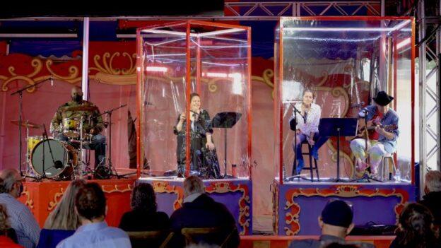 """Crossroads"" singers (l-r): bass Morris Robinson, mezzo Jamie Barton, mezzo Megan Marino, and baritone Michael Mayes. Off screen: keyboardist Rolando Salazar (credit: Felipe Barral)"
