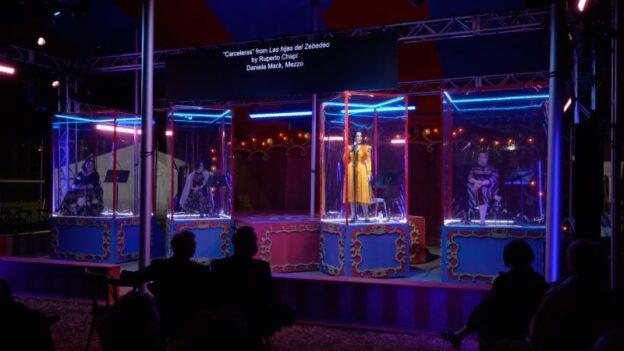 Mezzo-palooza: Gabrielle Beteag, Megan Marino, Daniela Mack and Jamie Barton sing, an open-air recital with pianist Elena Kholodova under the Atlanta Opera's Big Tent. (credit: Felipe Barral)
