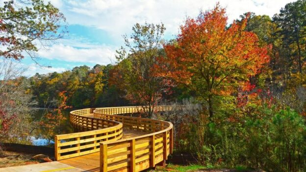 A walking path bridge at Panola Mountain State Park, southeast of Atlanta.
