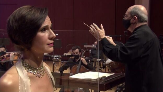 "Mezzo-soprano Kelley O'Connor and music director Robert Spano in this week's performance of Maurice Ravel's ""Shéhérazade."" [video frame capture / ASO ]"