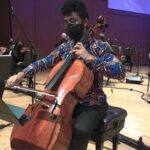 "Cellist Seth Parker Woods solos in Tyshawn Sorey's ""For Roscoe Mitchell."" (video frame capture /ASO)"