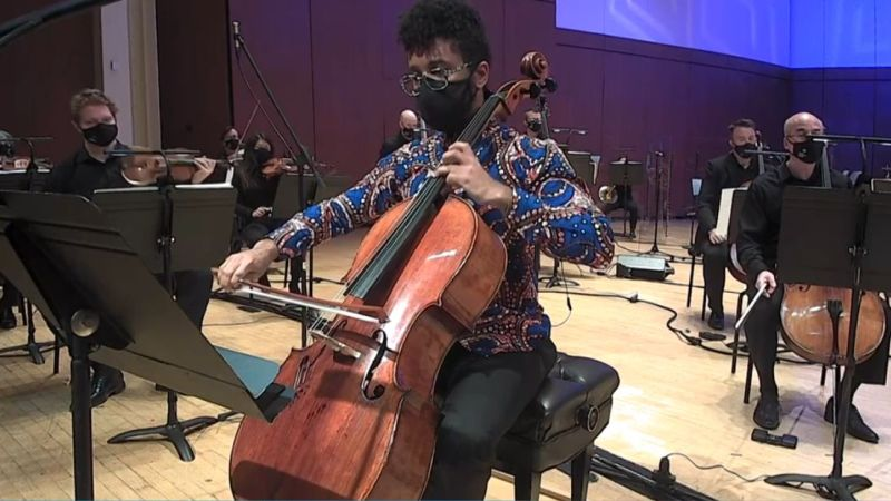 """Cellist Seth Parker Woods solos in Tyshawn Sorey's """"For Roscoe Mitchell."""" (video frame capture /ASO)"""