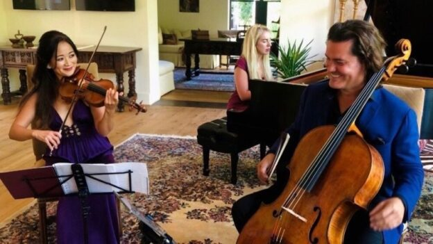 Violinist Chee-Yun, cellist Zuill Bailey, and pianist Natasha Paremski join forces for a virtual concert presented by Emory Chamber Music Society that streams this Saturday, January 23.
