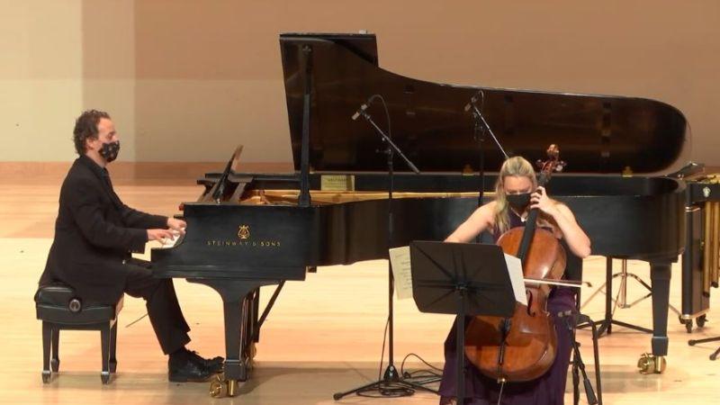 Pianist Robert Henry and cellist Charae Krueger (video capture / KSU)