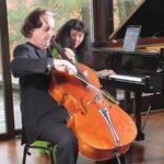 Cellist David Finckel, and pianist Wu Han in recital, performing Saint-Saens' Sonata No. 1 in C Minor. )image: OCL/Spivey Hall)